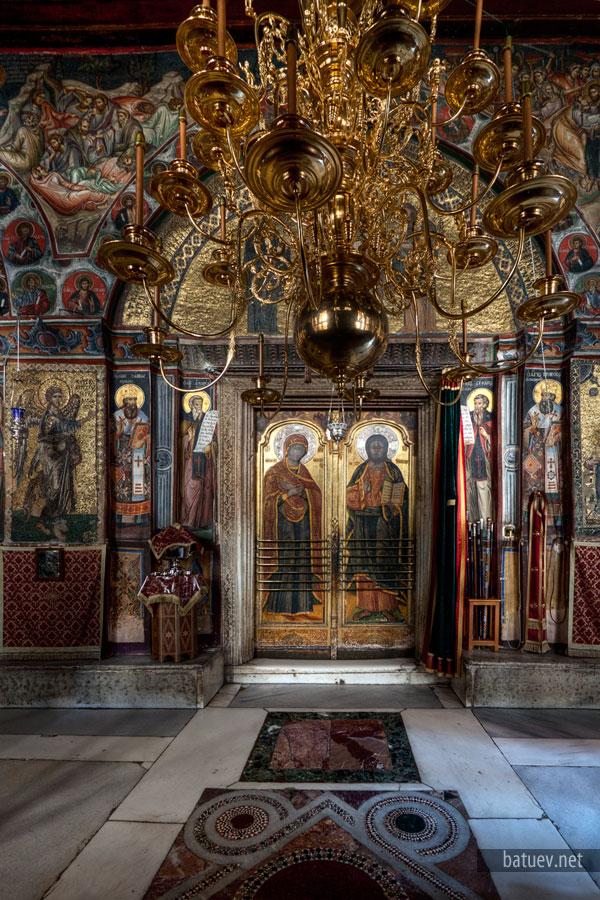 Соборный храм Ватопедского монастыря, притвор храма, мозаика