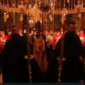 Пасхальная служба и Вечерня Любви в монастыре Ватопед, Пасха 2016